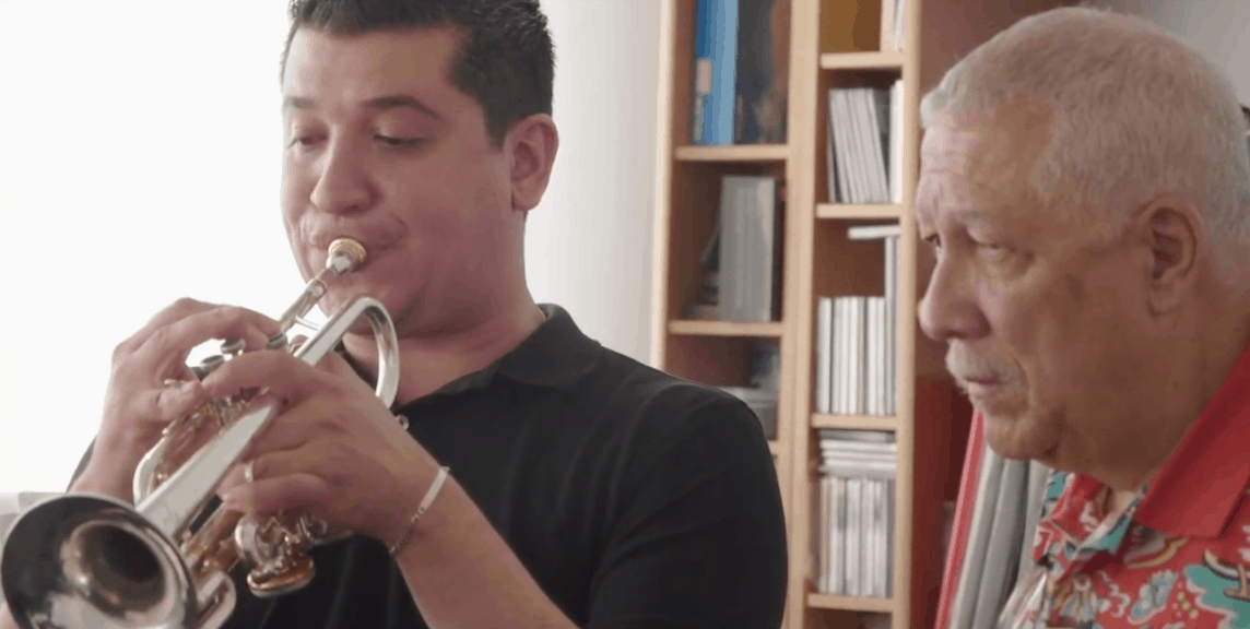 Paquito with Pacho Flores reviewing Trumpet Concerto