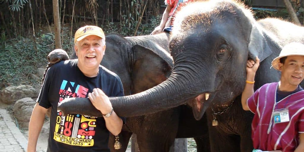 Paquito in Thailand with Elephant