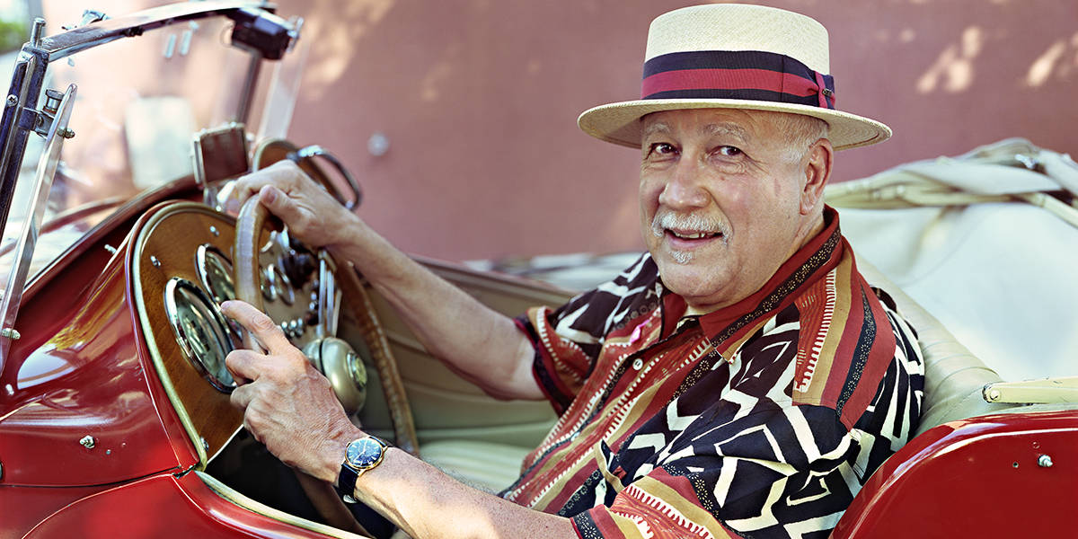 Paquito D'Rivera in red convertible - photo by Geandy Pavon